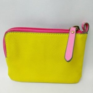Fossil Leather Coin Wallet Zippered Yellow Pink